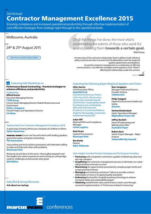 Contractor Management Excellence- past enquiries