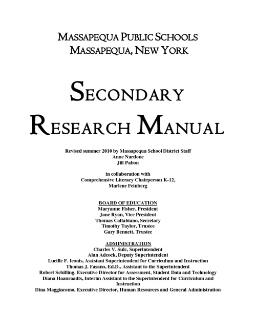 Research manual