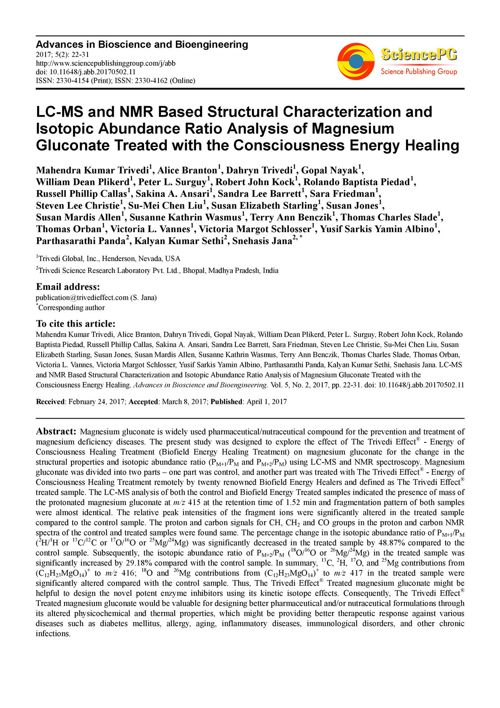 Structural Characterization of Magnesium Gluconate