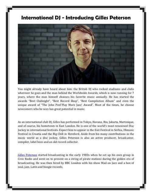 International DJ - Introducing Gilles Peterson