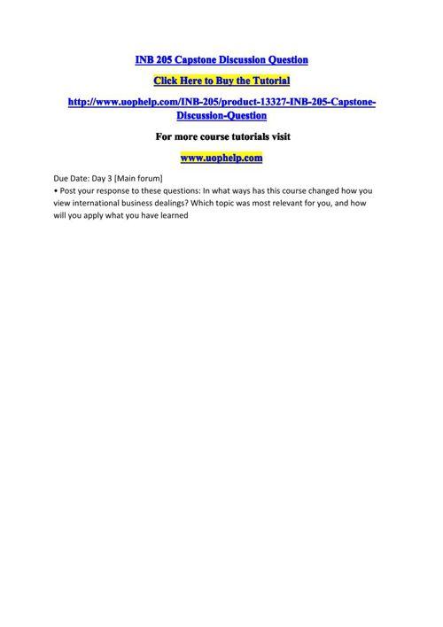 INB 205 Capstone Discussion Question