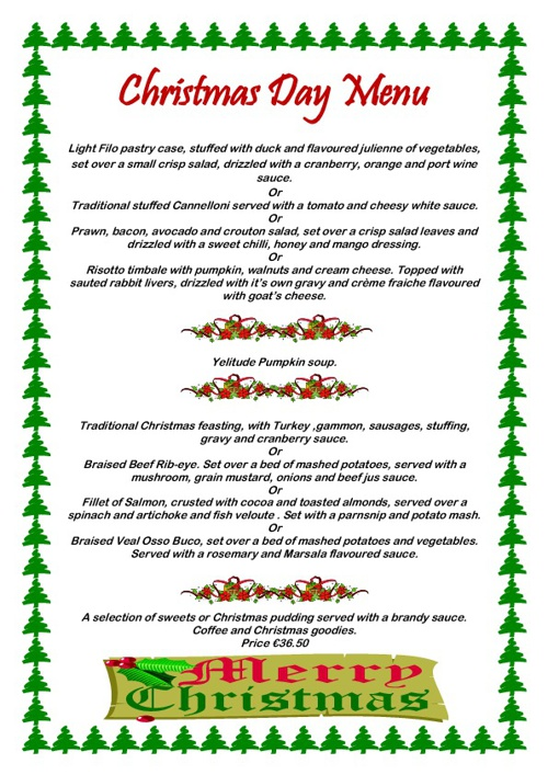 Christmas Day Menu 2012