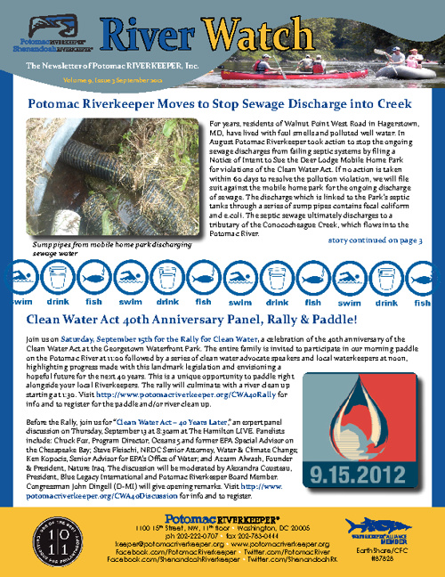 River Watch Newsletter, Sept 2012