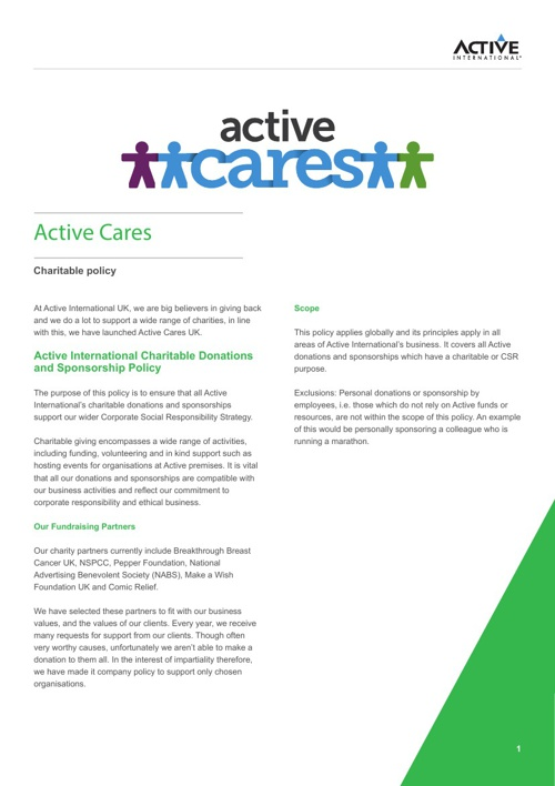 Active Cares Charitable Policy