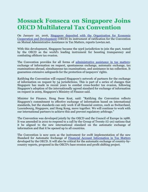 Mossack Fonseca on Singapore Joins OECD Multilateral Tax Convent