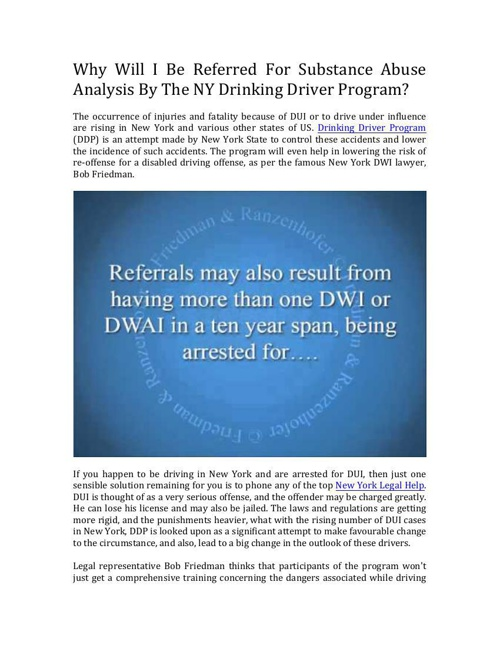Why Would The NY Drinking Driver Program Refer Me For A Substanc