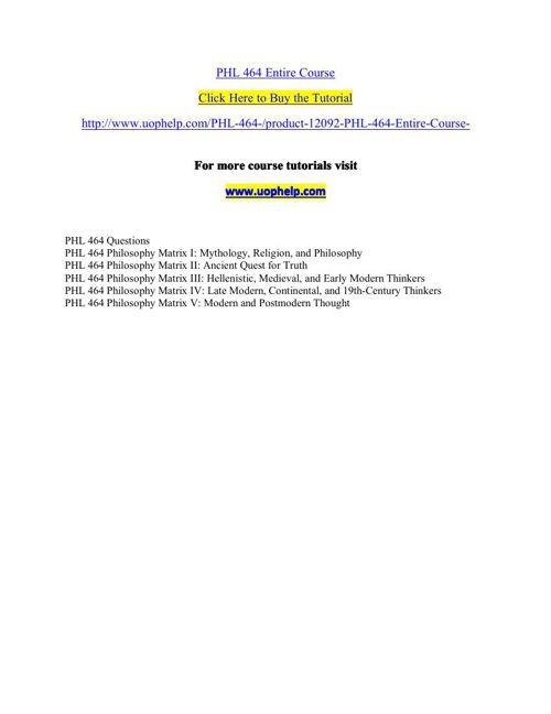 PHL 464 Entire Course