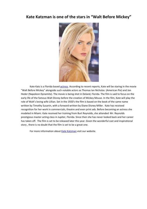 "Kate Katzman is one of the stars in ""Walt Before Mickey"""