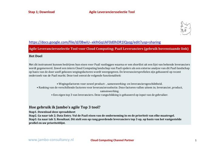 Jambo's Shortlist Tool (PaaS leveranciers)