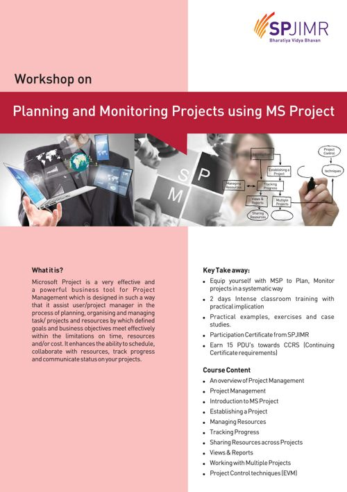 Workshop on Planning & Monitoring Projects