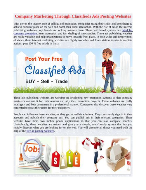 Company Marketing Through Classifieds Ads Posting Websites