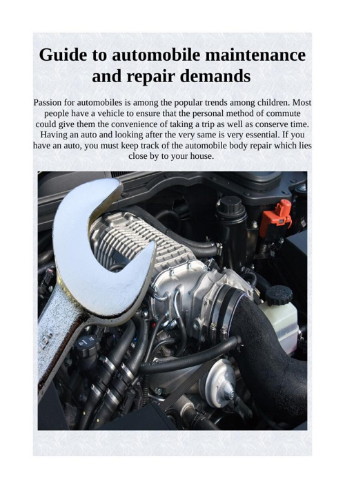 Guide to automobile maintenance and repair demands