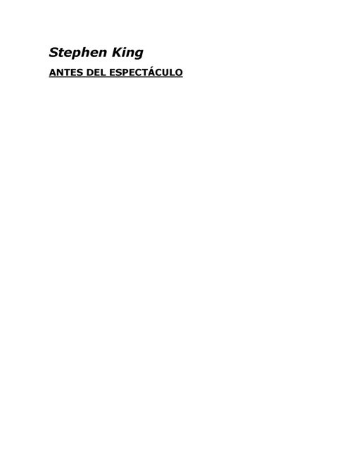 ANTES DEL ESPECTACULO