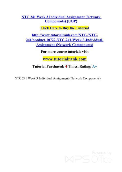 NTC 241 UOP Courses /TutorialRank