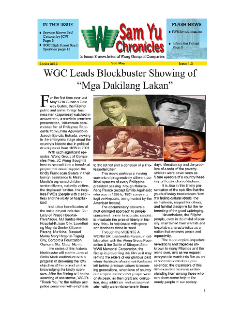 WGC Sam Yu Chronicles News Letter 2