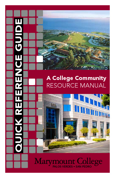 Marymount College Quick Reference Guide Fall 2012