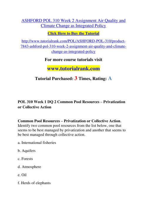 ASHFORD POL 310 Course Success Begins / tutorialrank.com