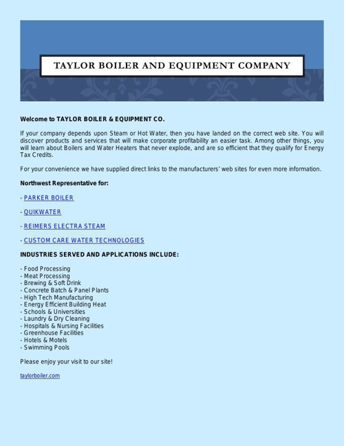 TAYLOR BOILER AND EQUIPMENT COMPANY
