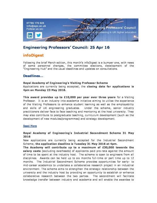 Engineering Professors' Council infoDigest 25 Apr 16