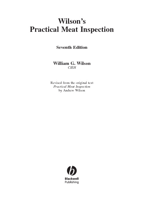 Wilson's  Practical Meat Inspection and manual