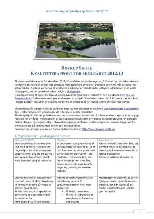 Kvalitets-rapport Bryrup Skole