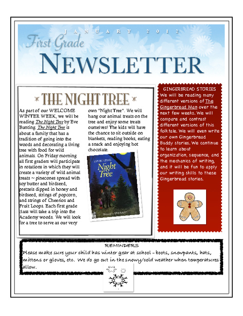 January 2012 First Grade Newsletter