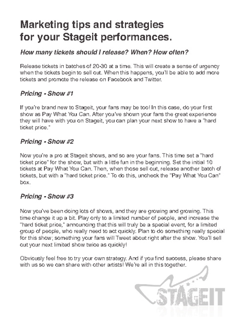 Stageit marketing tips