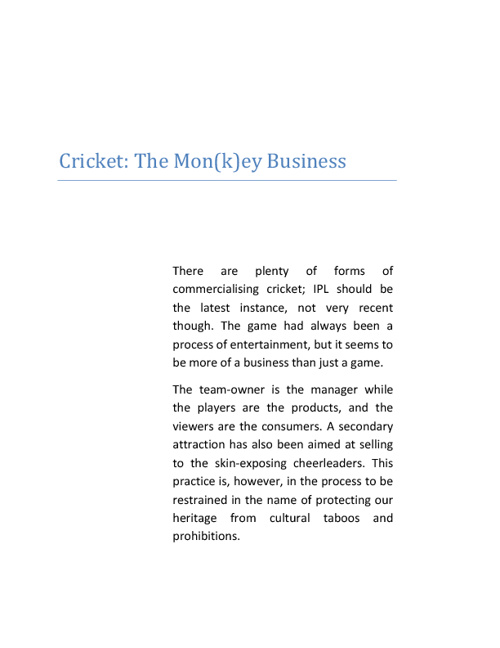 Cricket - The Mon(k)ey Business