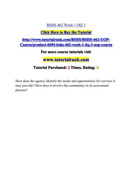 BSHS 462 Potential Instructors / tutorialrank.com