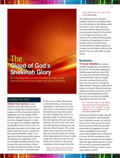 The Cloud of HIS Shekinah