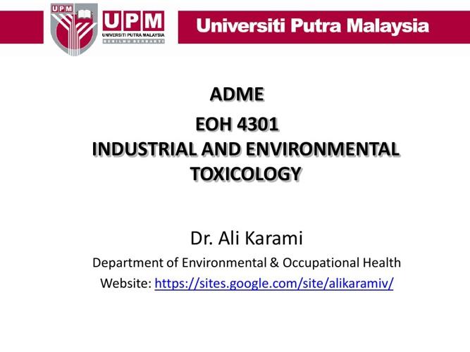 Toxicology (ADME)