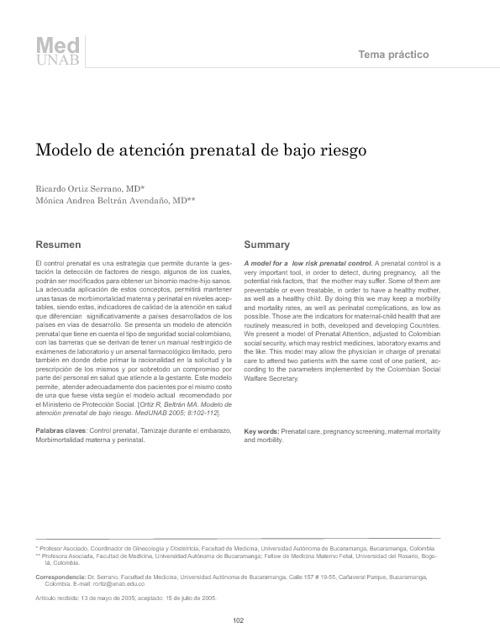modelo de atención prenatal