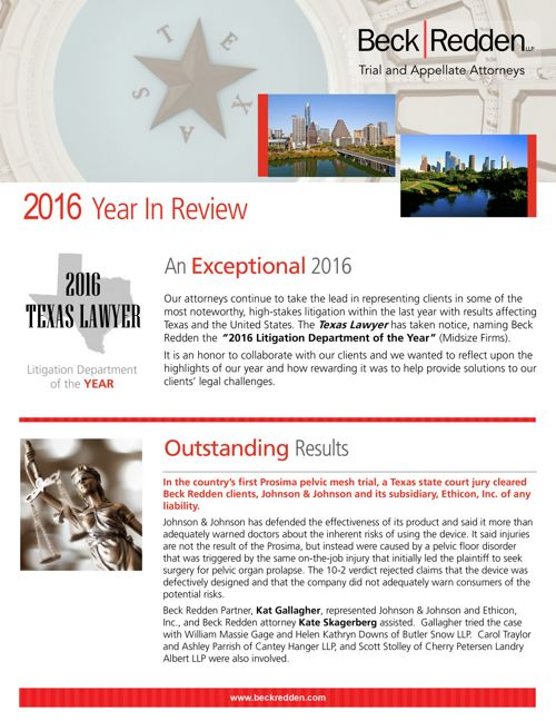 2016 Beck Redden LLP Year in Review