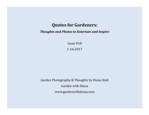 Quotes for Gardeners - Winter - Issue #10