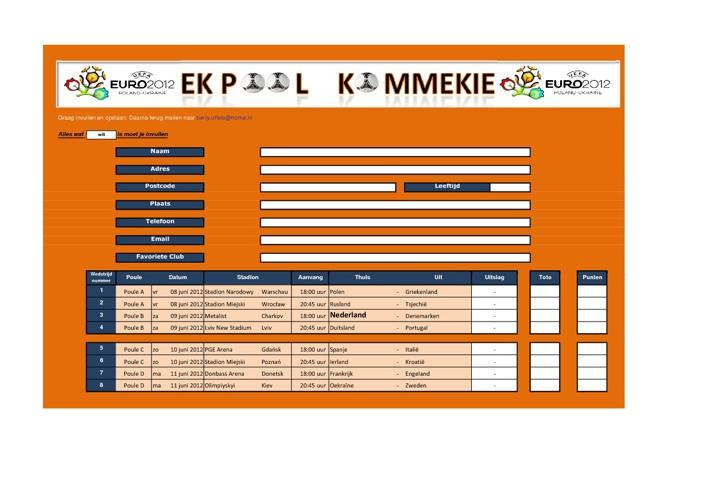 Inschrijfformulier en Regelement EK Pool 2012 CR Kommekie