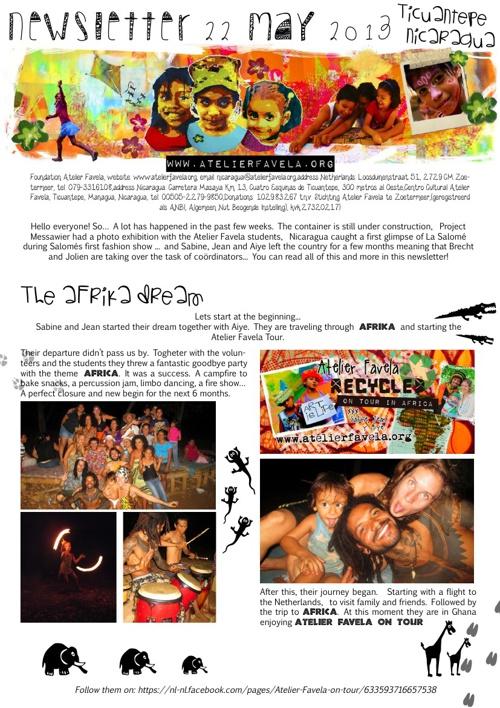 Newsletter Atelier Favela May 2013