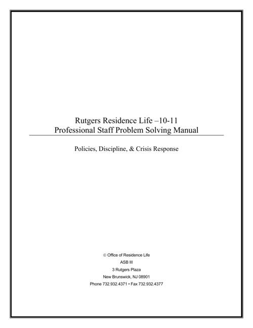 Rutgers University Crises Response Manual