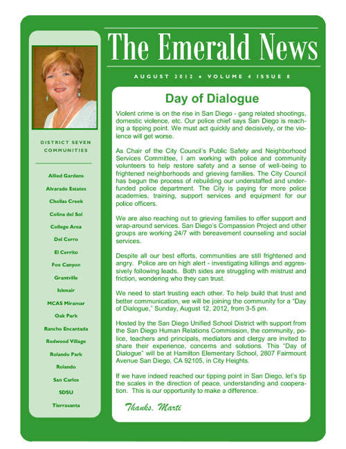 The Emerald News: Volume 4, Issue 8 (August 2012)