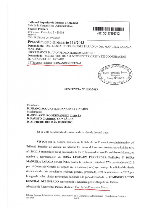 sentencia 2013 estimandonos Recurso TSJ  visado turismo en Cuba