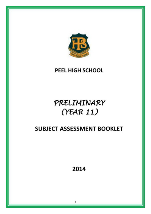 Preliminary Peel High School Assessment Booklet 2014