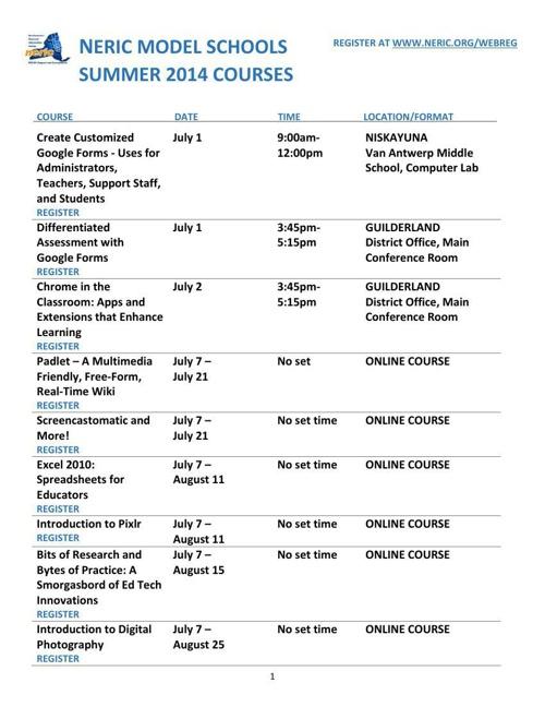 NERIC Model Schools Summer 2014 Courses