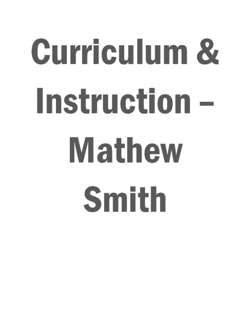 Standard 1: Curriculum & Instruction