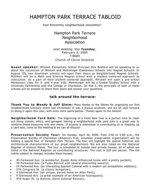 HPT Newsletter February 2009
