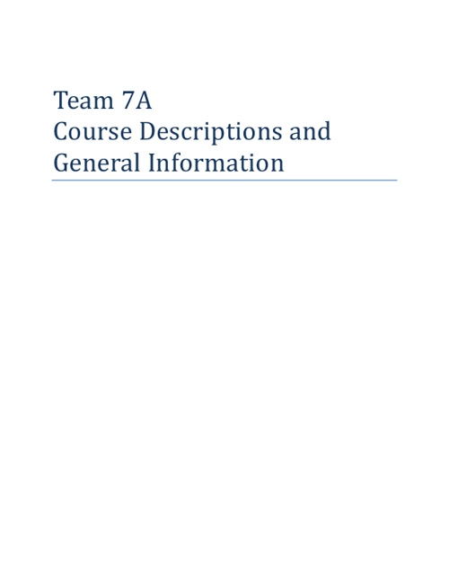 Team 7A Course Descriptions and General Information