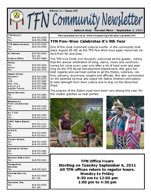 TFN Newsletter - September 2, 2011