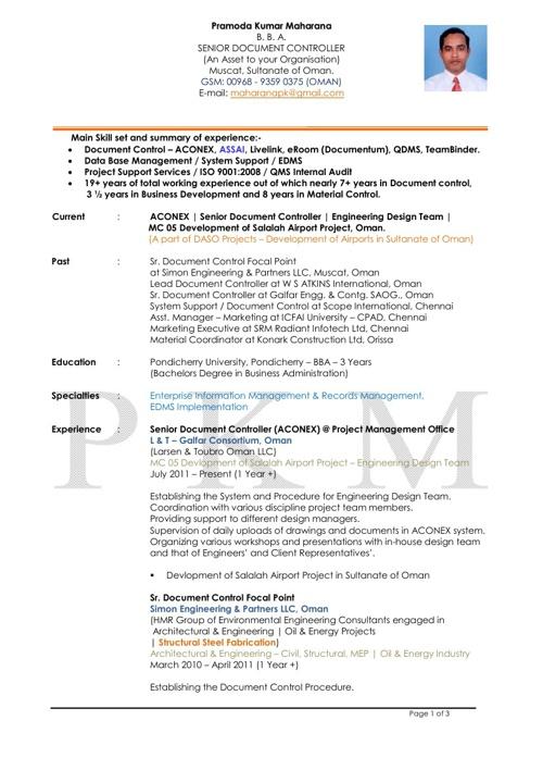 CV of Pramoda Maharana. Document Controller - Oman.+968 93590375