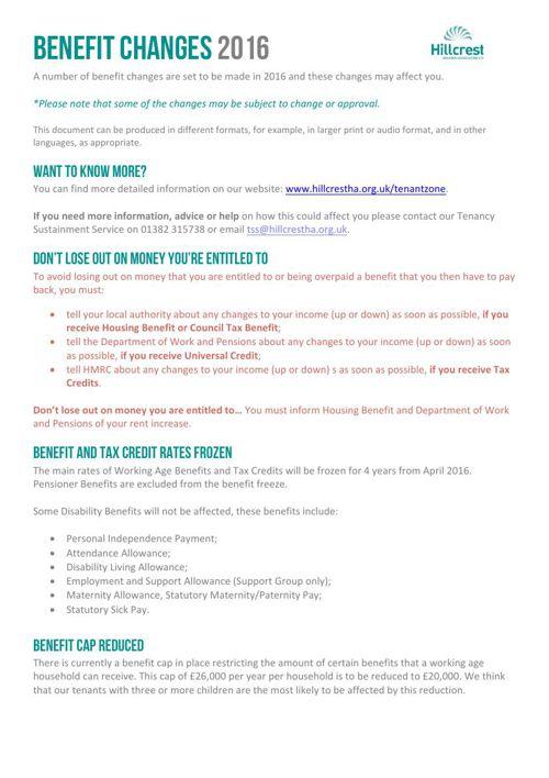 Benefit Changes Flyer 24.02.16
