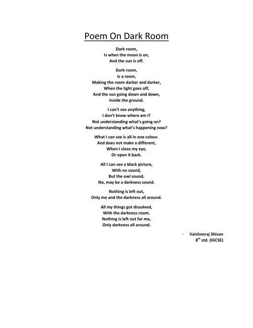 Poem On Dark Room