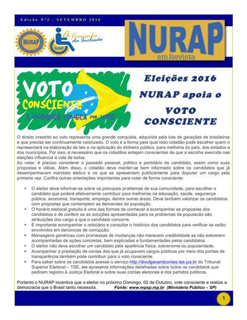 """""""NURAP em Revista"""" 2ª Edição de Setembro 2016."""