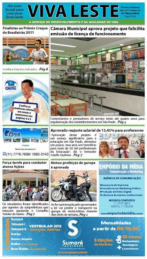 Jornal Viva Leste - Edição 2 - Primeira Quinzena - Dezembro 2011